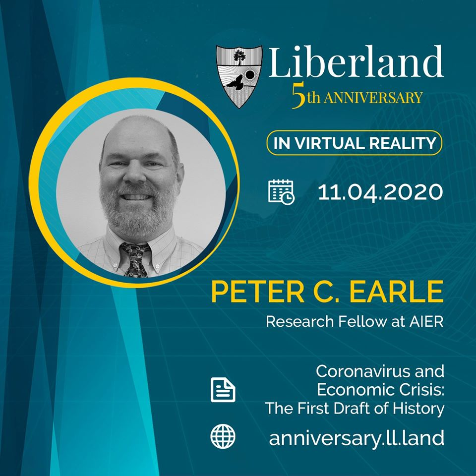 5th Anniversary Of Free Republic of Liberland in VR Peter C Earle, research fellow at American Institute for Economic Research bitcoin btc blockchain somnium space crypto