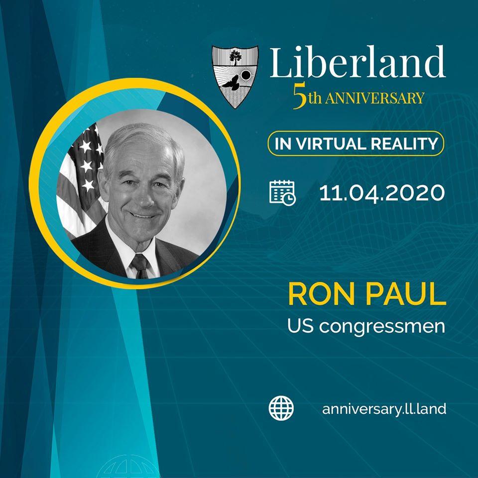 5th Anniversary Of Free Republic of Liberland in VR Ron Paul US congressmen bitcoin btc blockchain somnium space crypto